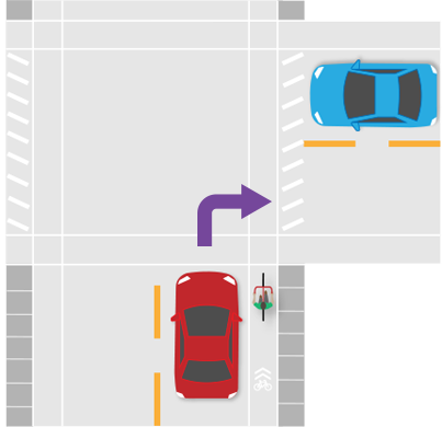 Car at intersection turning right